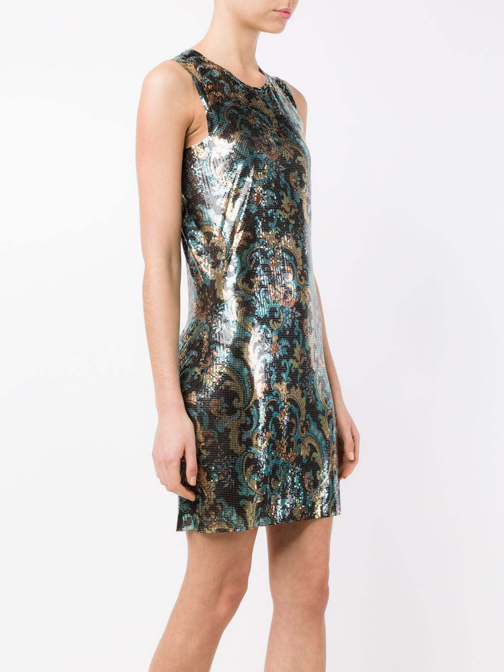 Paco Rabanne Floral Chainmail Dress Lyst