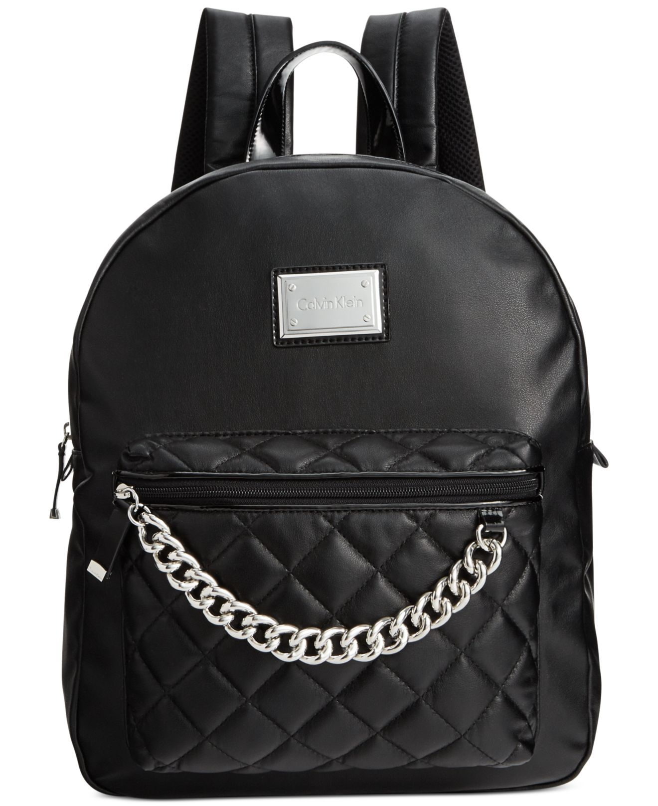 calvin klein quilted chain backpack in black lyst. Black Bedroom Furniture Sets. Home Design Ideas