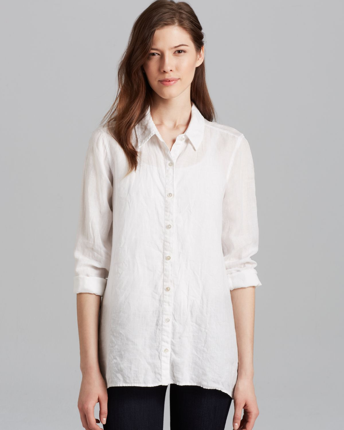 53763d61a7f812 Lyst - Eileen Fisher Classic Collar Boxy Shirt in White