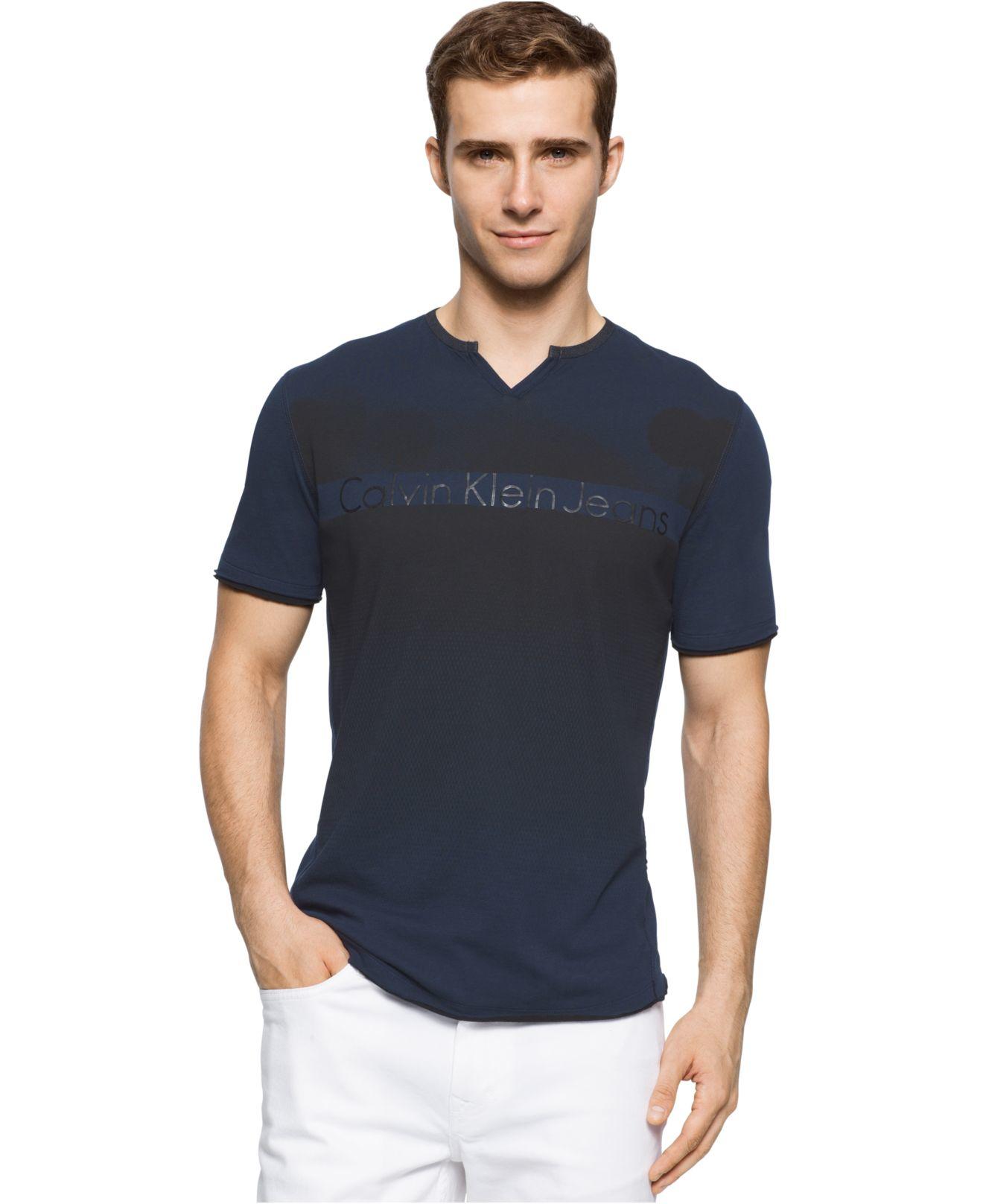 calvin klein jeans men 39 s pixel flare graphic print logo split neck t shirt in blue for men lyst. Black Bedroom Furniture Sets. Home Design Ideas