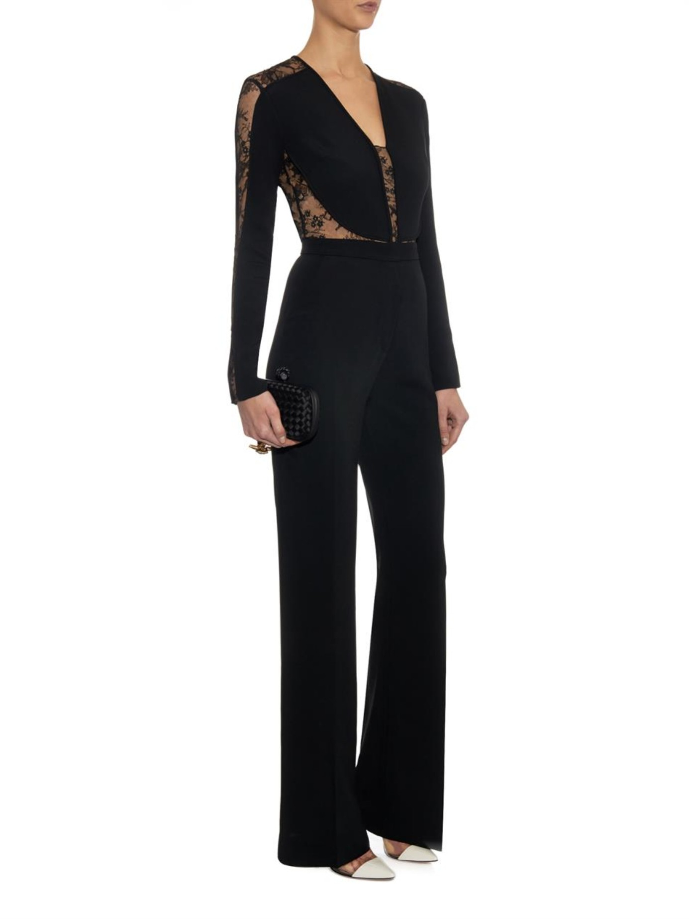 86ed2e641f89 Lyst - Elie Saab Lace-panel Stretch-cady Jumpsuit in Black