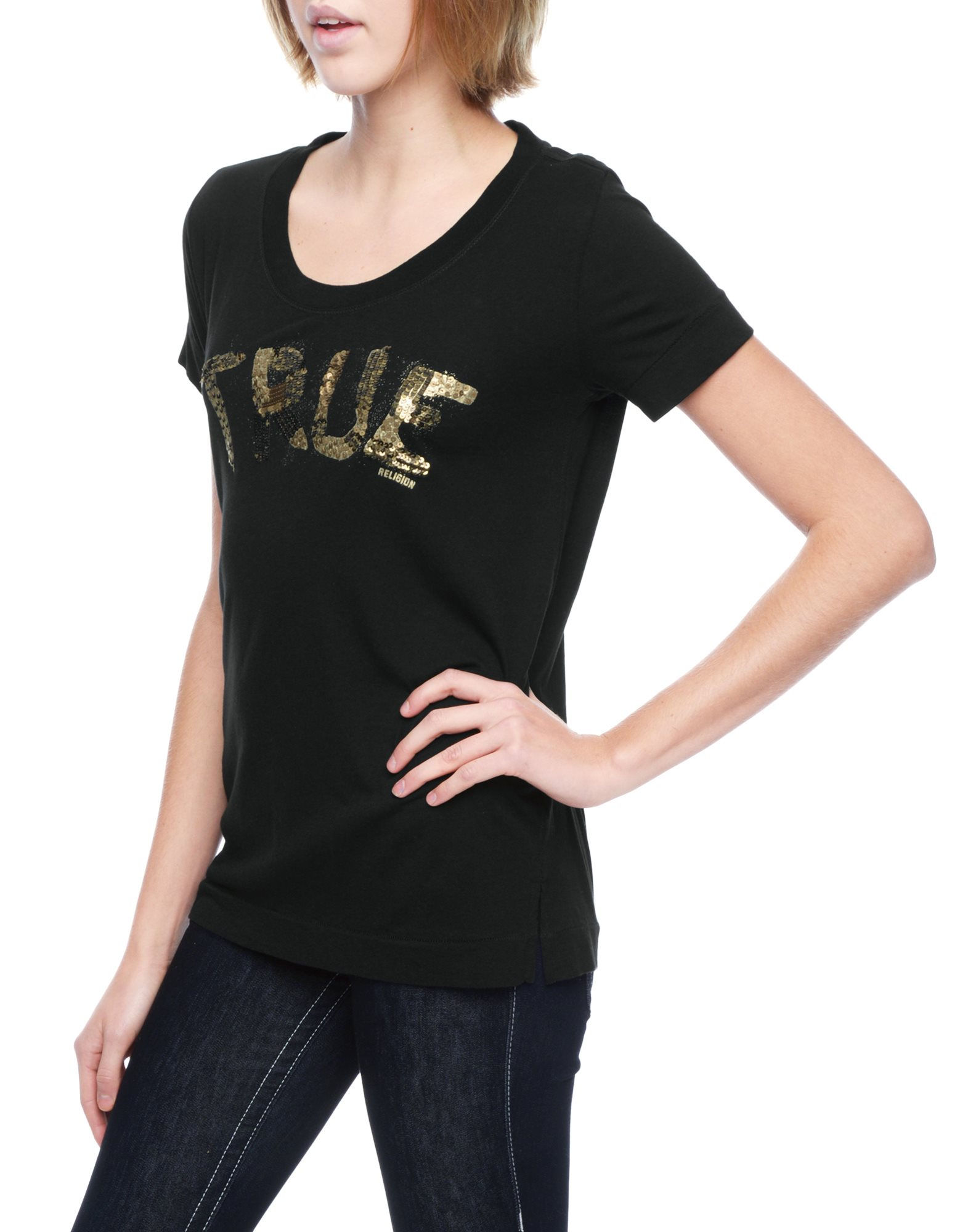 true religion true sequin relaxed womens t shirt in black lyst. Black Bedroom Furniture Sets. Home Design Ideas