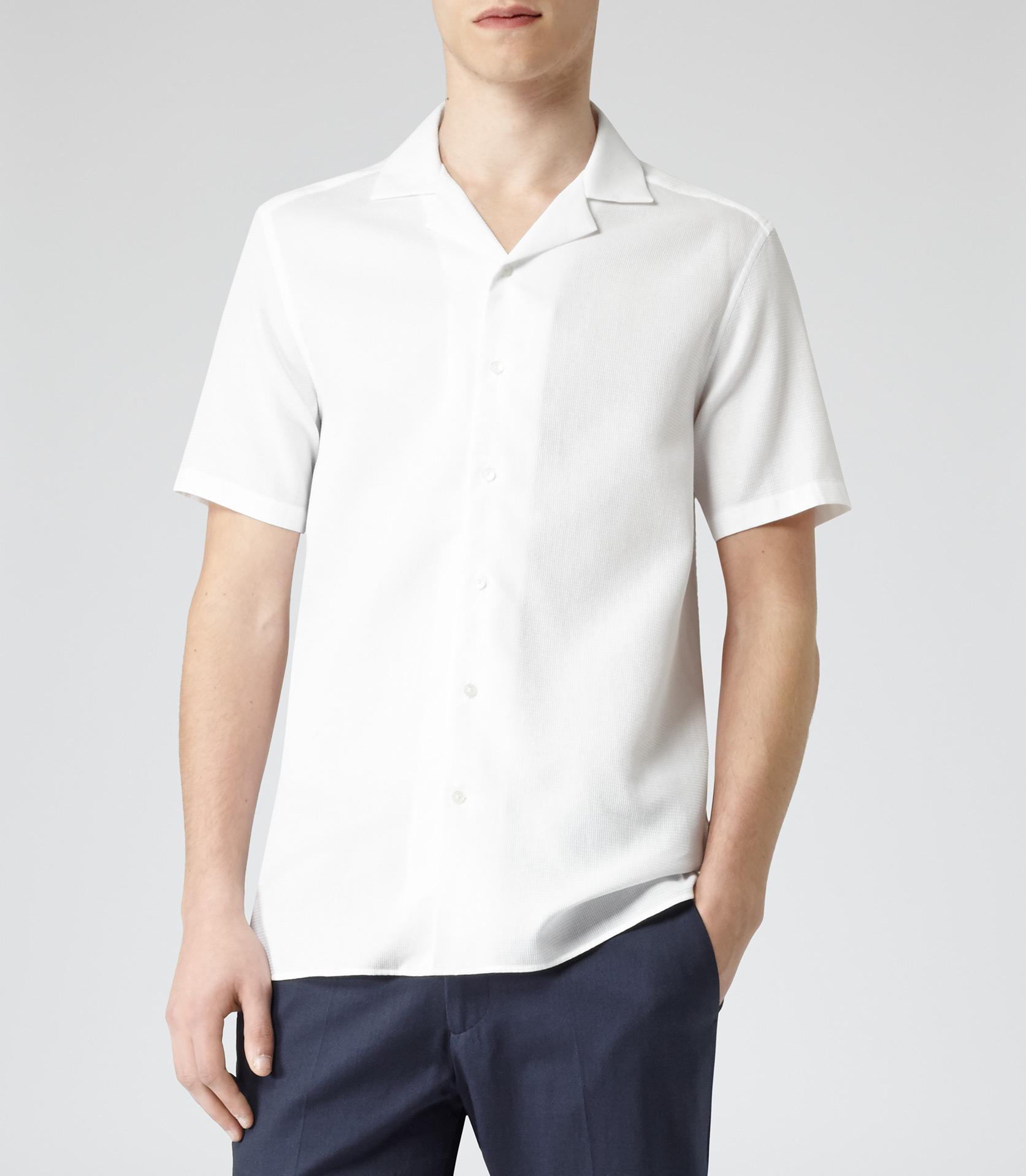 Lyst Reiss Alder Textured Cuban Collar Shirt In White