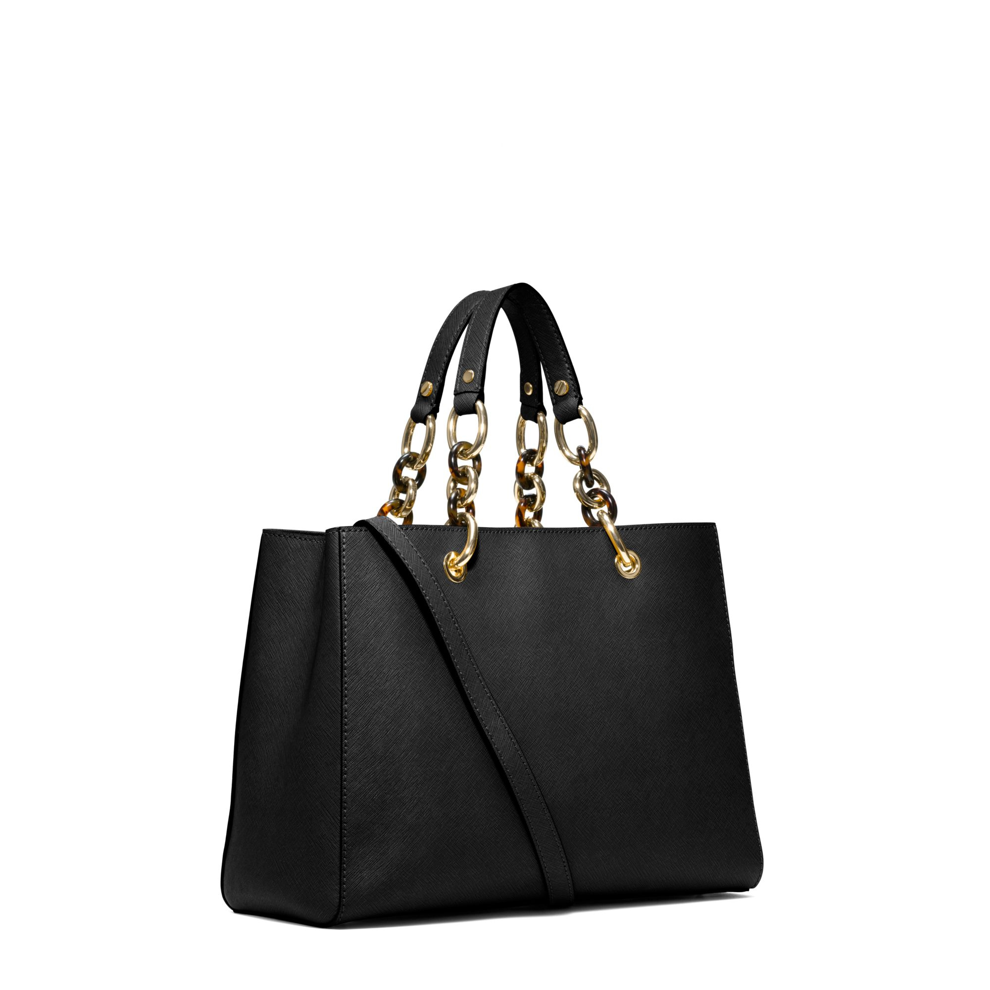 michael kors cynthia medium leather satchel in black lyst. Black Bedroom Furniture Sets. Home Design Ideas