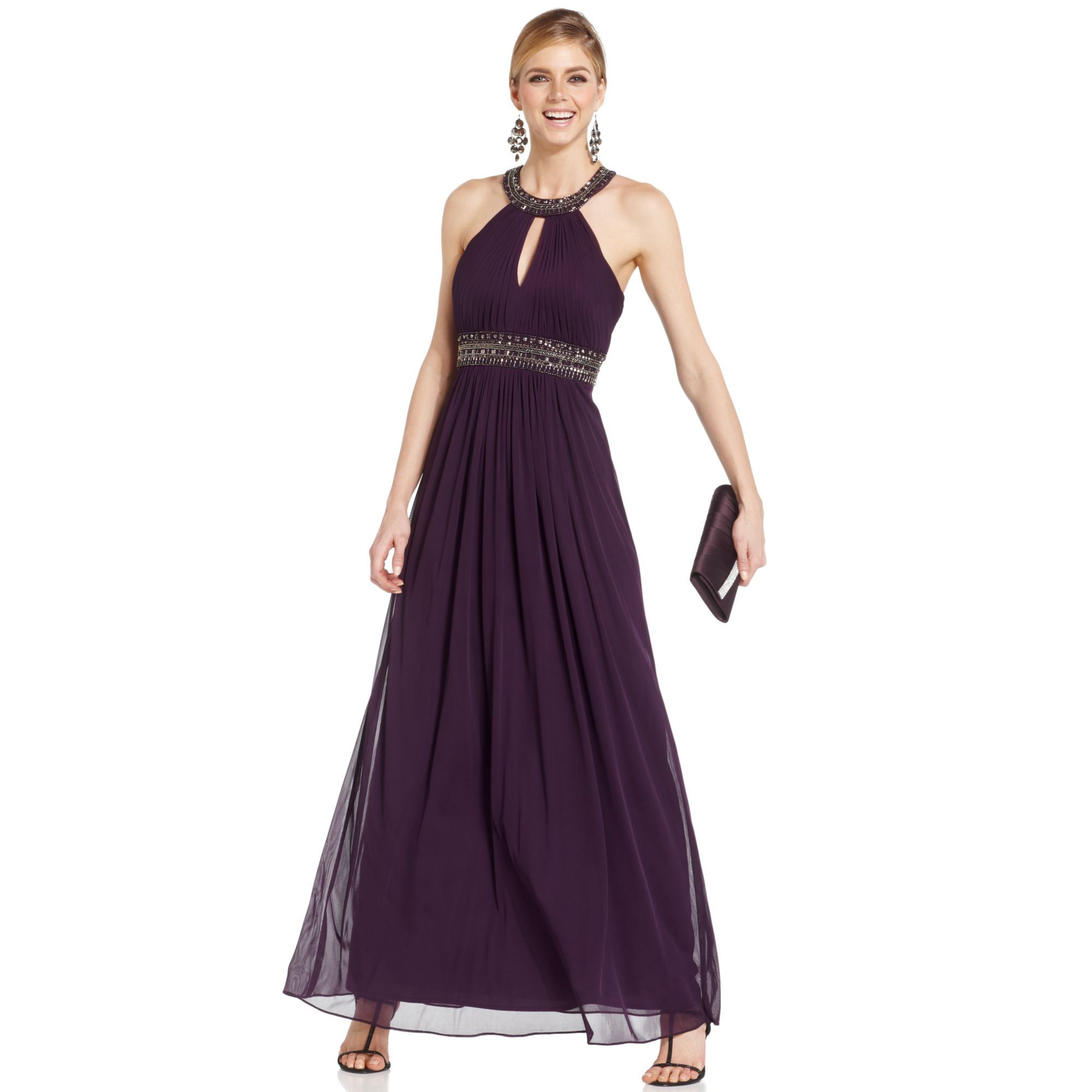 Xscape Dress Purple Chiffon