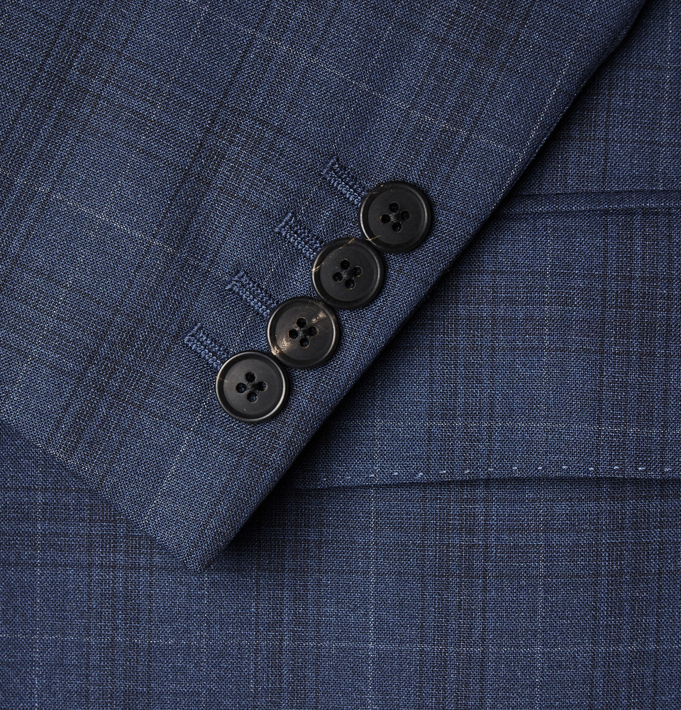 Gieves & Hawkes Navy Checked Wool Suit in Blue for Men