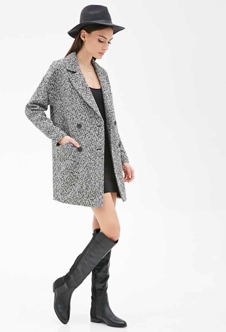 Forever 21 Oversized Double-breasted Tweed Coat in Black | Lyst