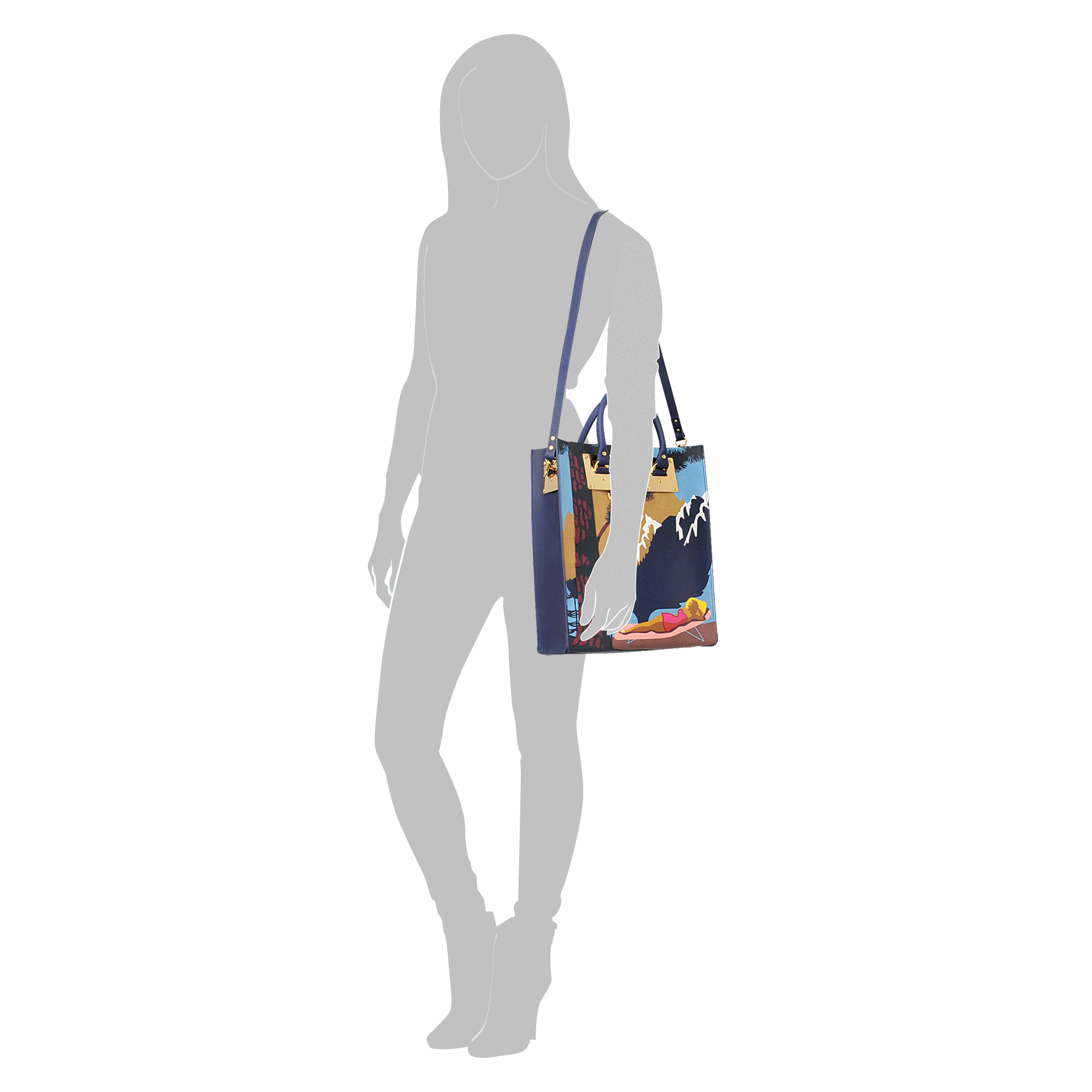 Sophie Hulme Wish You Were Here Tote Bag in Blue