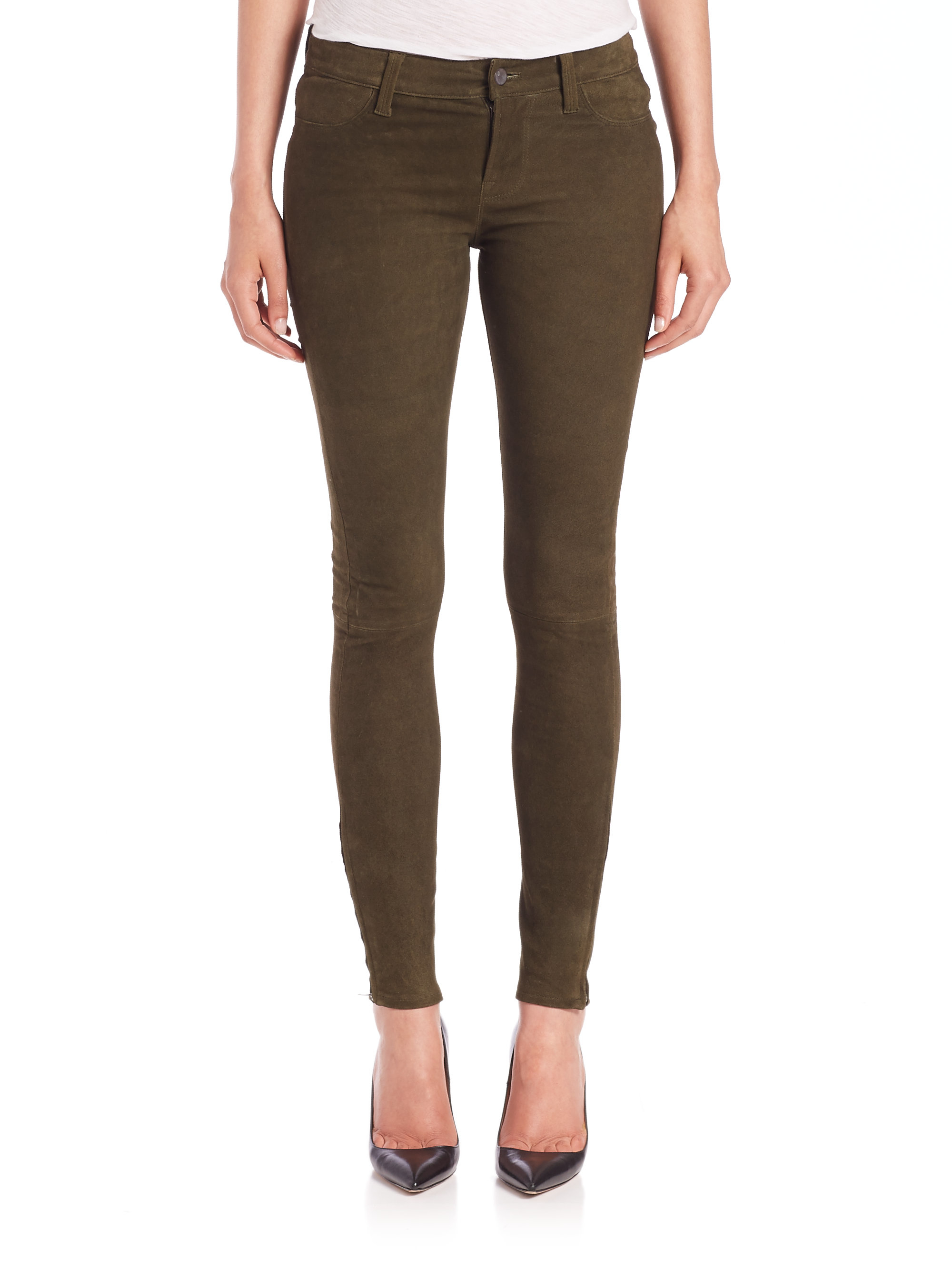 j brand suede skinny jeans in green lyst. Black Bedroom Furniture Sets. Home Design Ideas