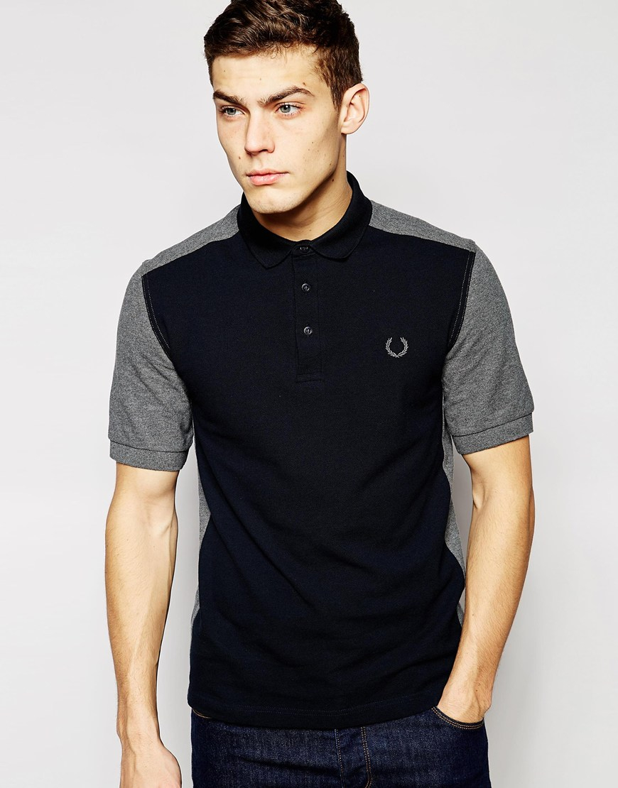 fred perry laurel wreath polo with color block in black for men graphi lyst. Black Bedroom Furniture Sets. Home Design Ideas
