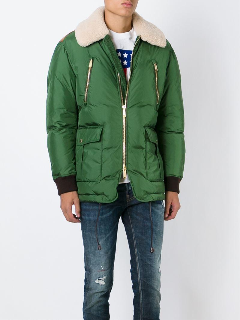 Dsquared² Padded Aviator Jacket in Green for Men