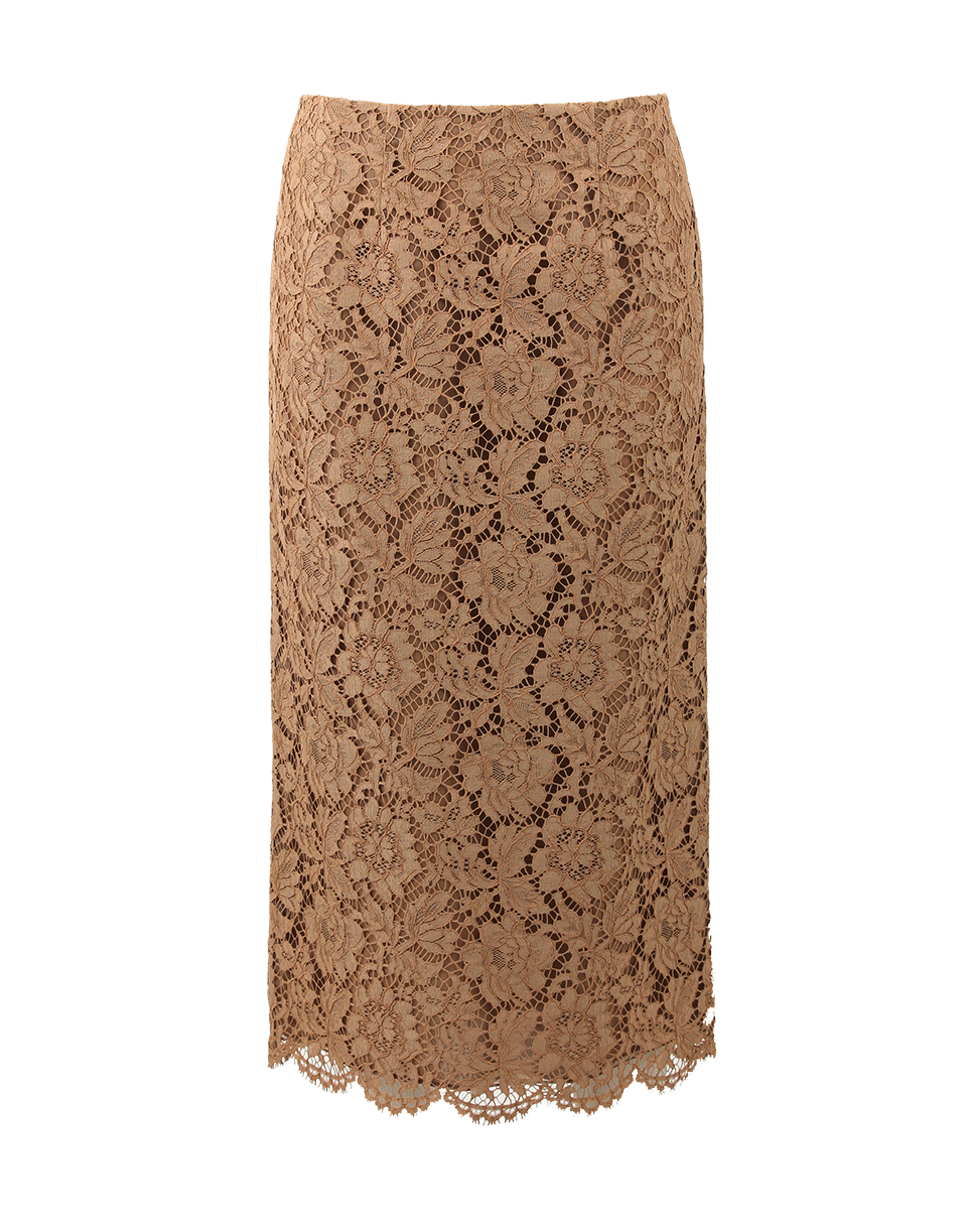 Valentino Long Lace Pencil Skirt in Brown | Lyst