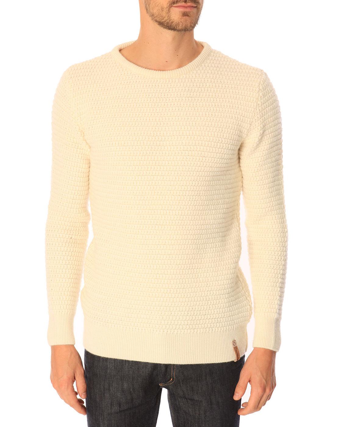 knowledge cotton apparel fancy knit off white round neck. Black Bedroom Furniture Sets. Home Design Ideas