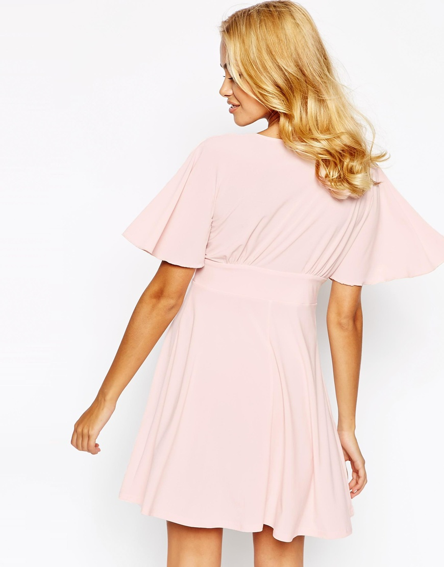 Lyst - Love Plunge Skater Dress With Kimono Sleeve in Pink 5666acdb7