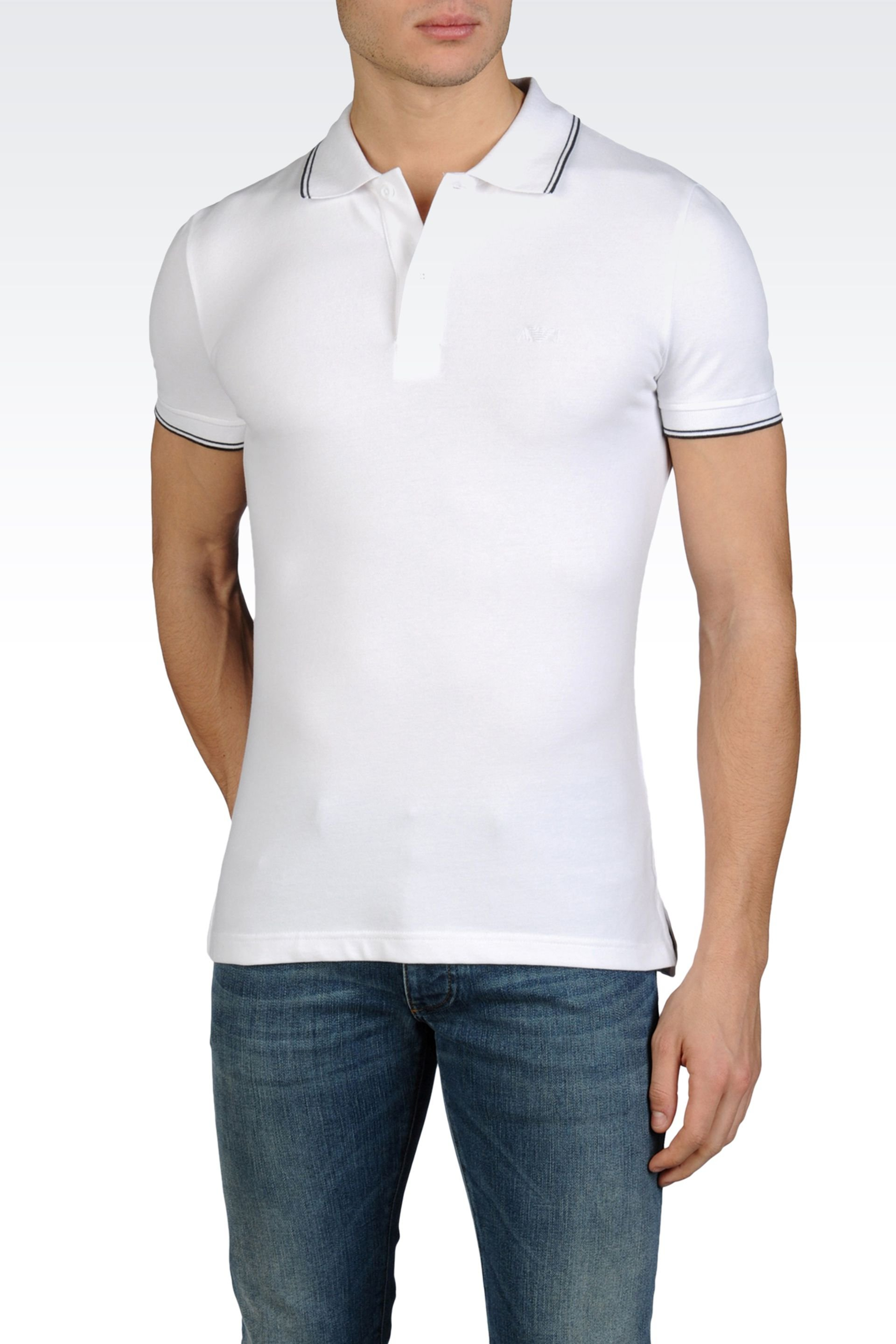 Armani jeans short sleeve fitted polo shirt in white for for White fitted polo shirts