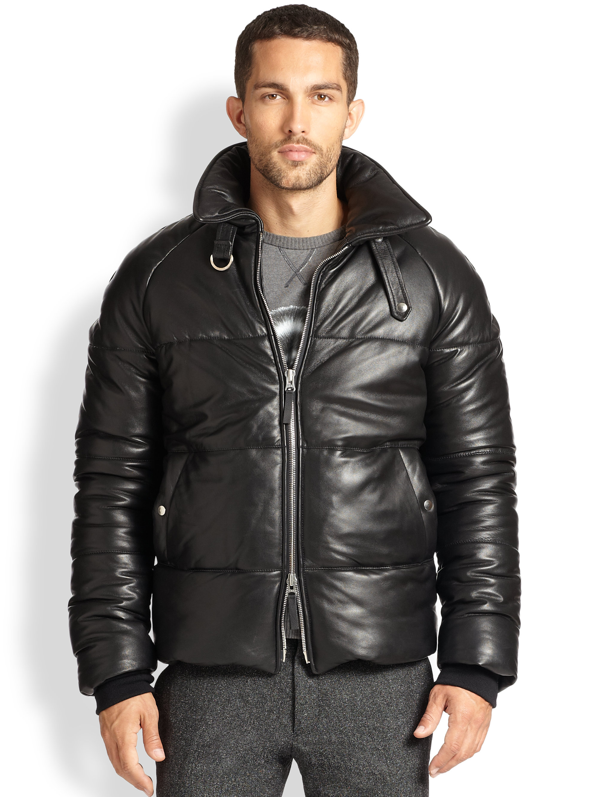 Ami Leather Down Jacket In Black For Men Lyst