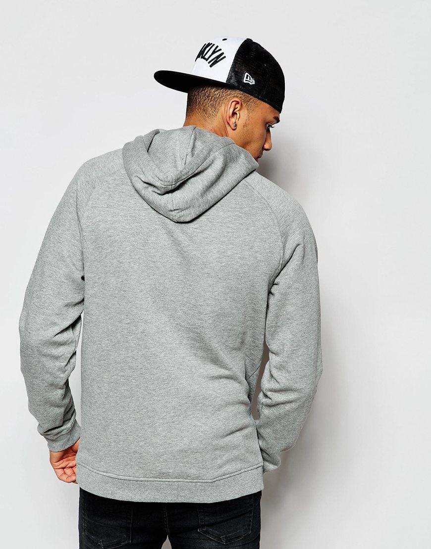 jack jones overhead hoodie with retro print in gray for men lyst. Black Bedroom Furniture Sets. Home Design Ideas