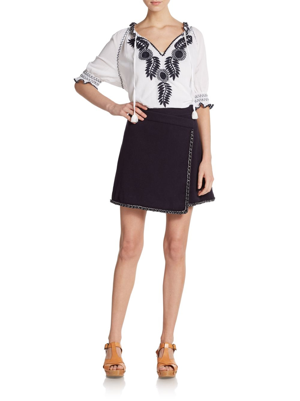 Lyst tory burch mari embroidered blouson top in white for Tory burch fashion island