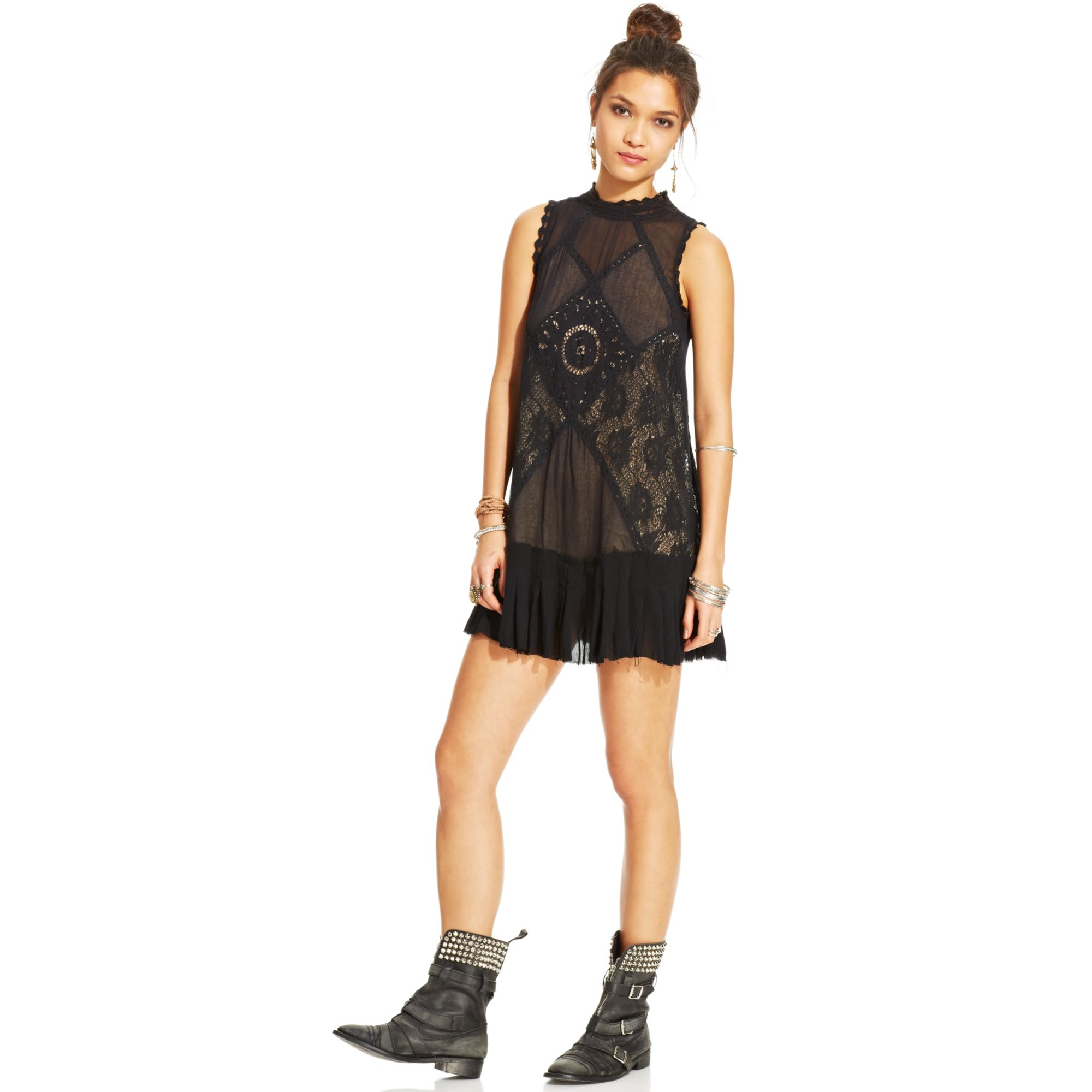 dc2bcfd6c8 Lyst - Free People Angel Lace Pleated Shift in Black