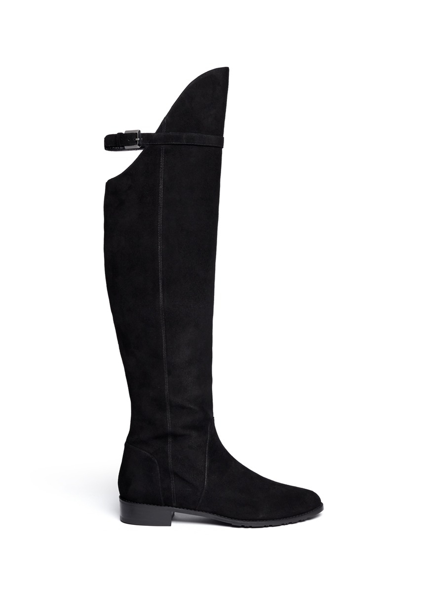 stuart weitzman needaride high low suede boots in black