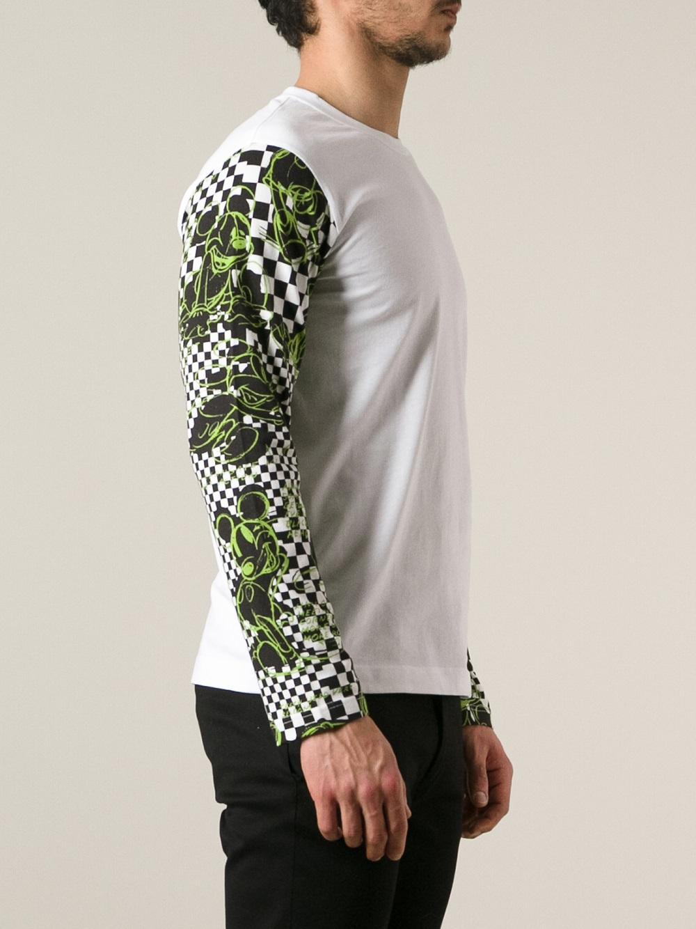 Comme des Garçons Pattern Sleeves Tshirt in White (Green) for Men