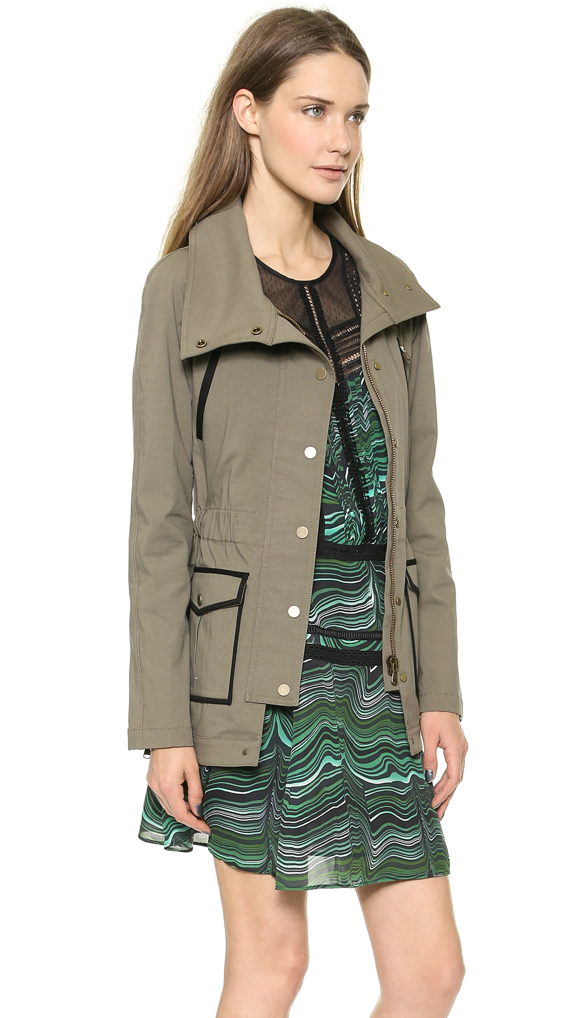 Veronica Beard Military Jacket Olive In Green Lyst