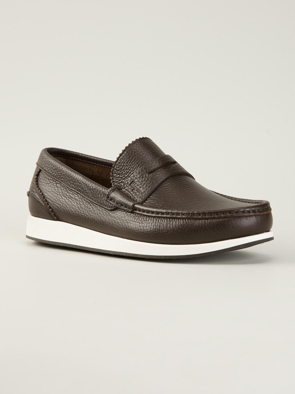 Ferragamo White Sole Loafers in Brown