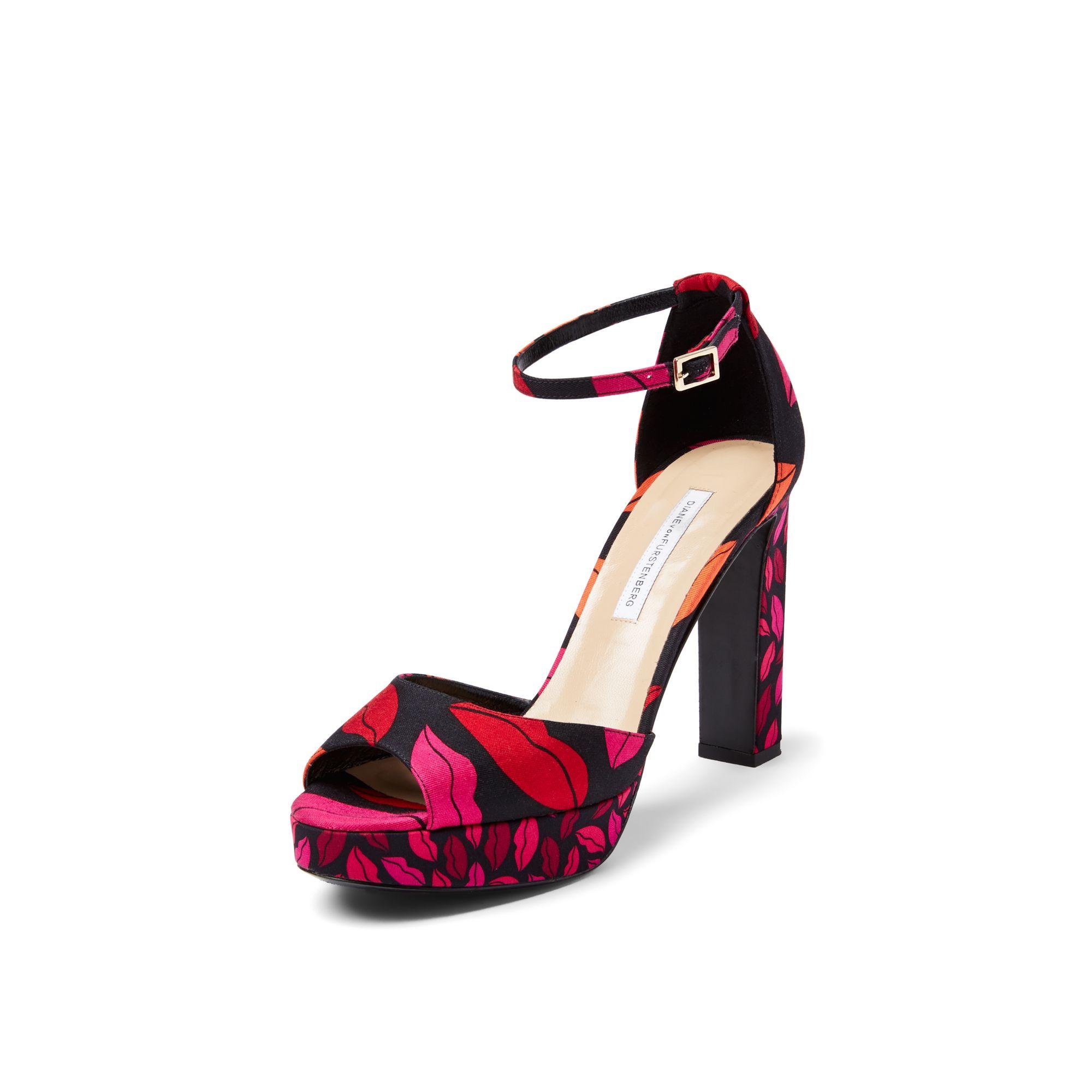 cc9fdc2580e Lyst - Diane von Furstenberg Daria Open Toe Kiss Platform Heel in Red