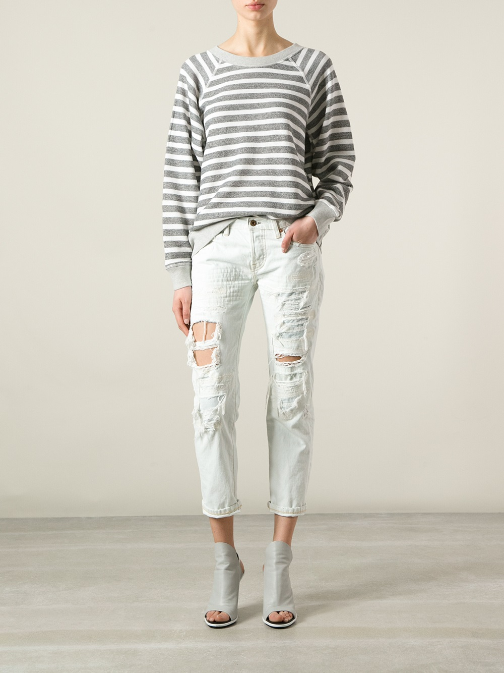 Bliss and mischief Beck Distressed Jeans in White | Lyst