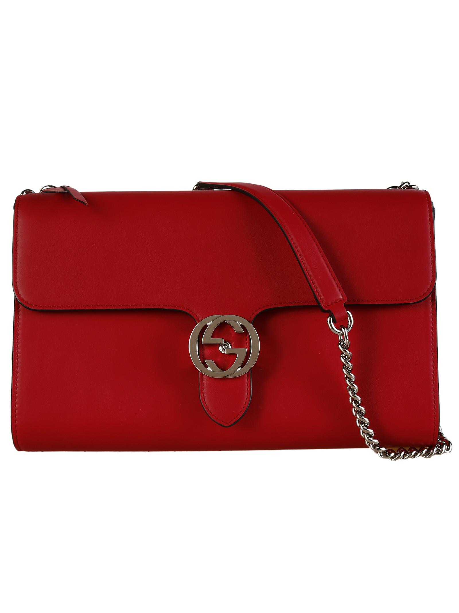 Gucci Leather Interlocking Shoulder Bag in Pink (Dark Pink ...