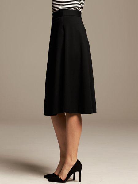 banana republic ponte midi skirt in black br black lyst