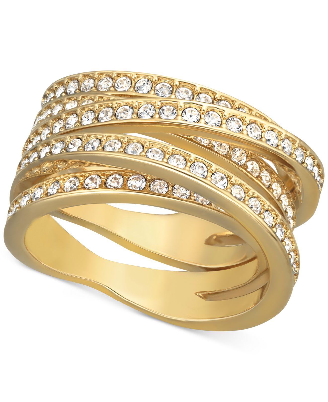 02f1c23abf057 Swarovski Metallic Gold-Tone Spiral Crystal Pave Ring