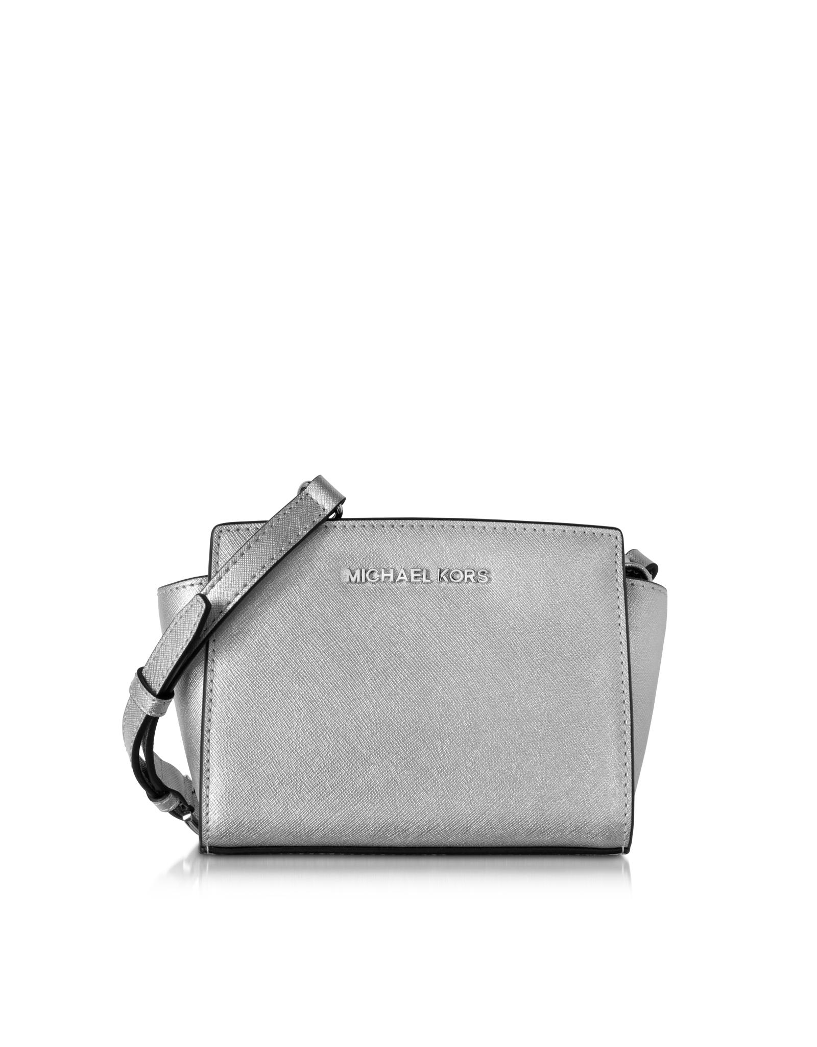 b4f991ded930 Lyst - Michael Kors Selma Silver Saffiano Leather Mini Messenger in ...