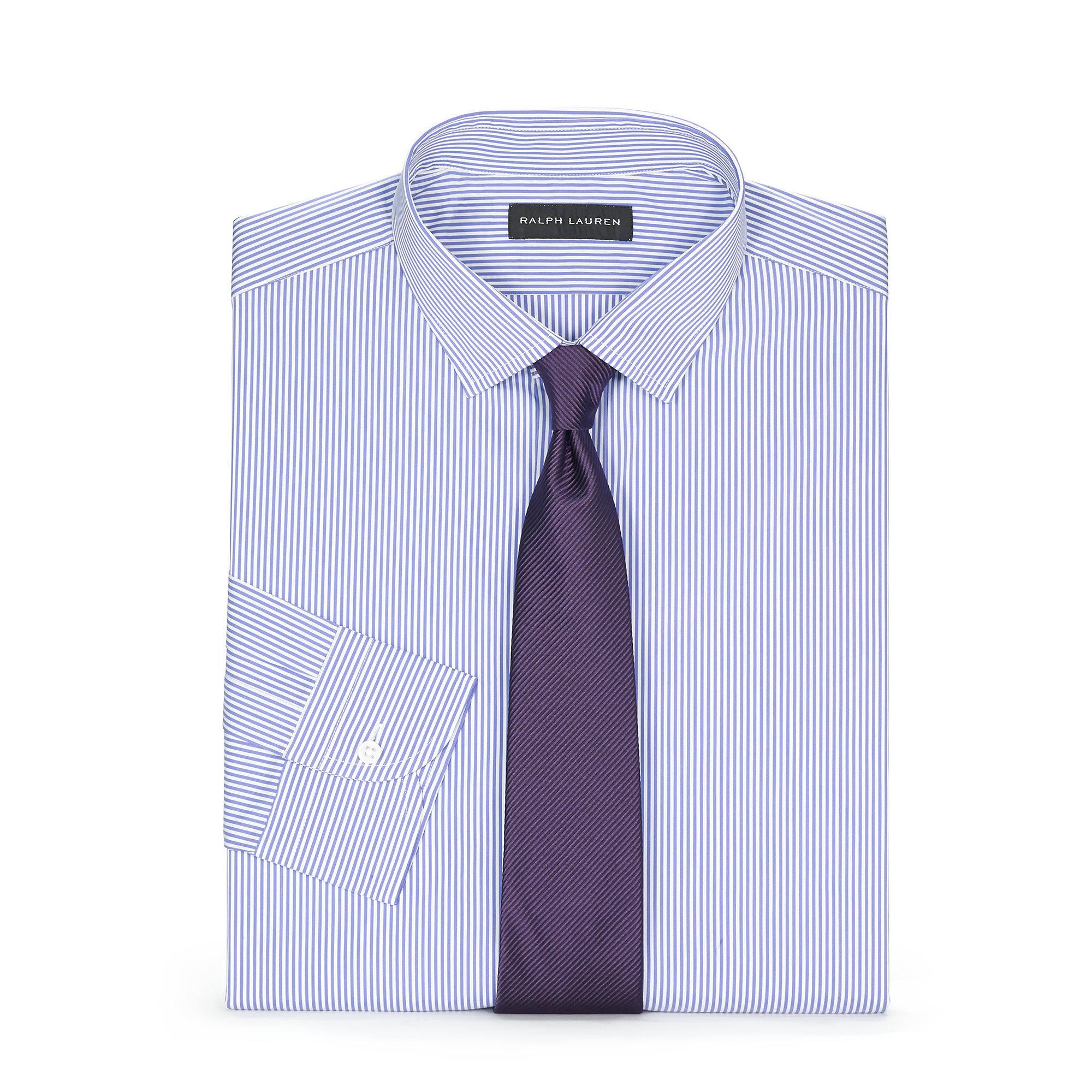 Ralph lauren tailored fit sloan dress shirt in purple for for Tailored fit dress shirts