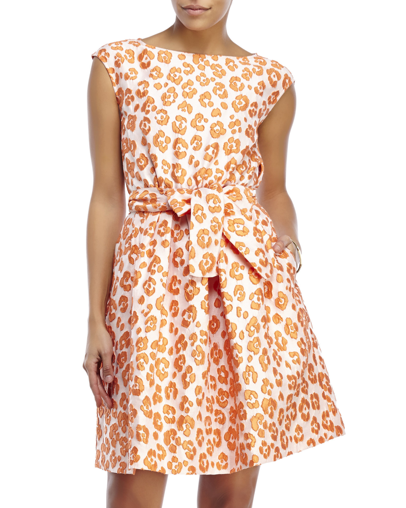 724b802d6bc6 Boutique Moschino Jacquard Leopard Print Dress in Orange - Lyst