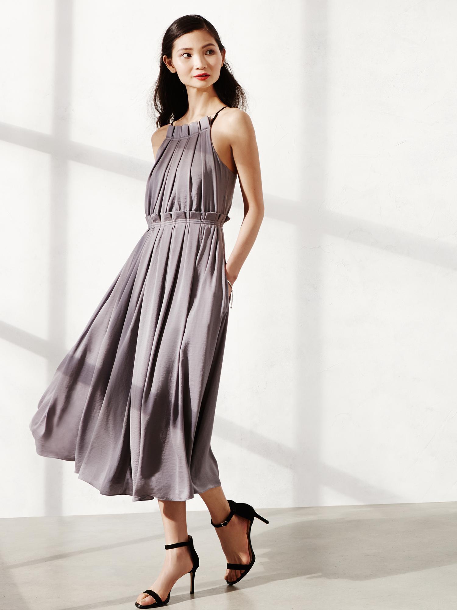8060b8a4ffa Lyst - Banana Republic Br Monogram Pleated Gray Halter Dress in Gray