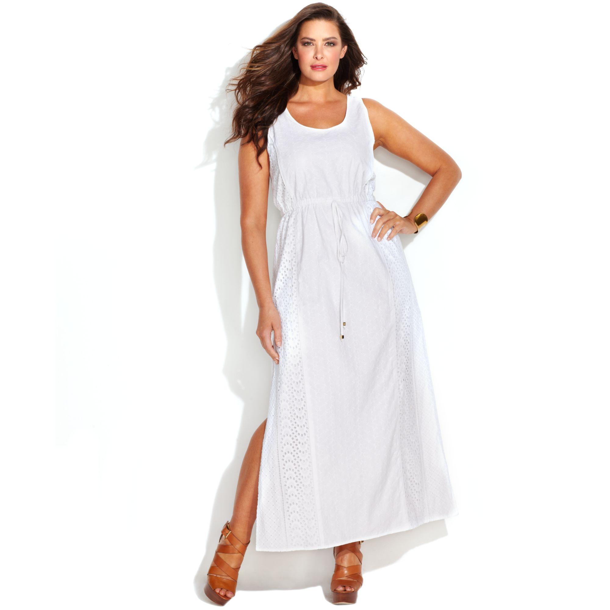 Michael Plus Size Sleeveless Eyelet Drawstring Maxi Dress