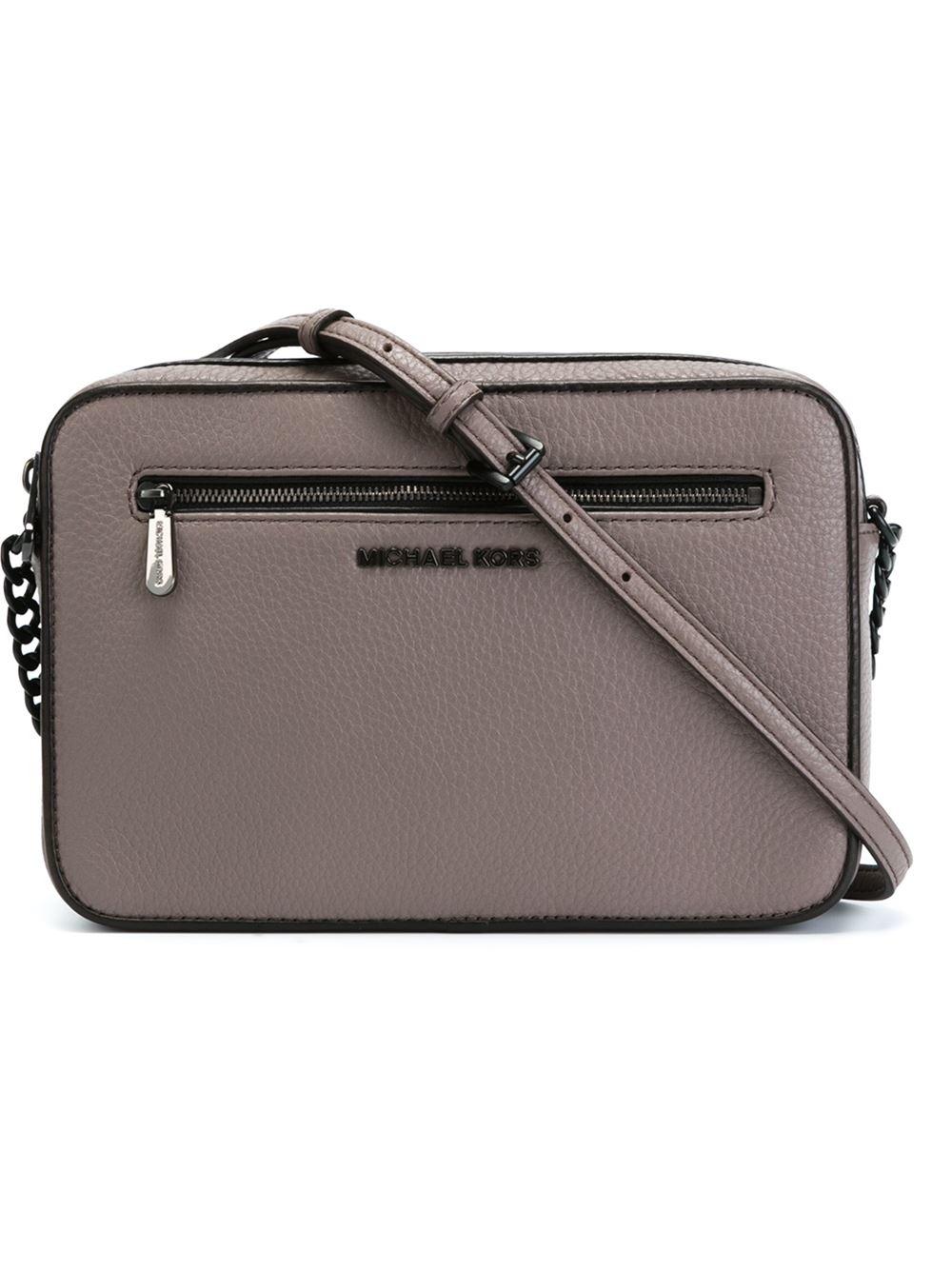 628b8b07d316 MICHAEL Michael Kors Jet Set Travel Leather Cross-Body Bag in Gray ...