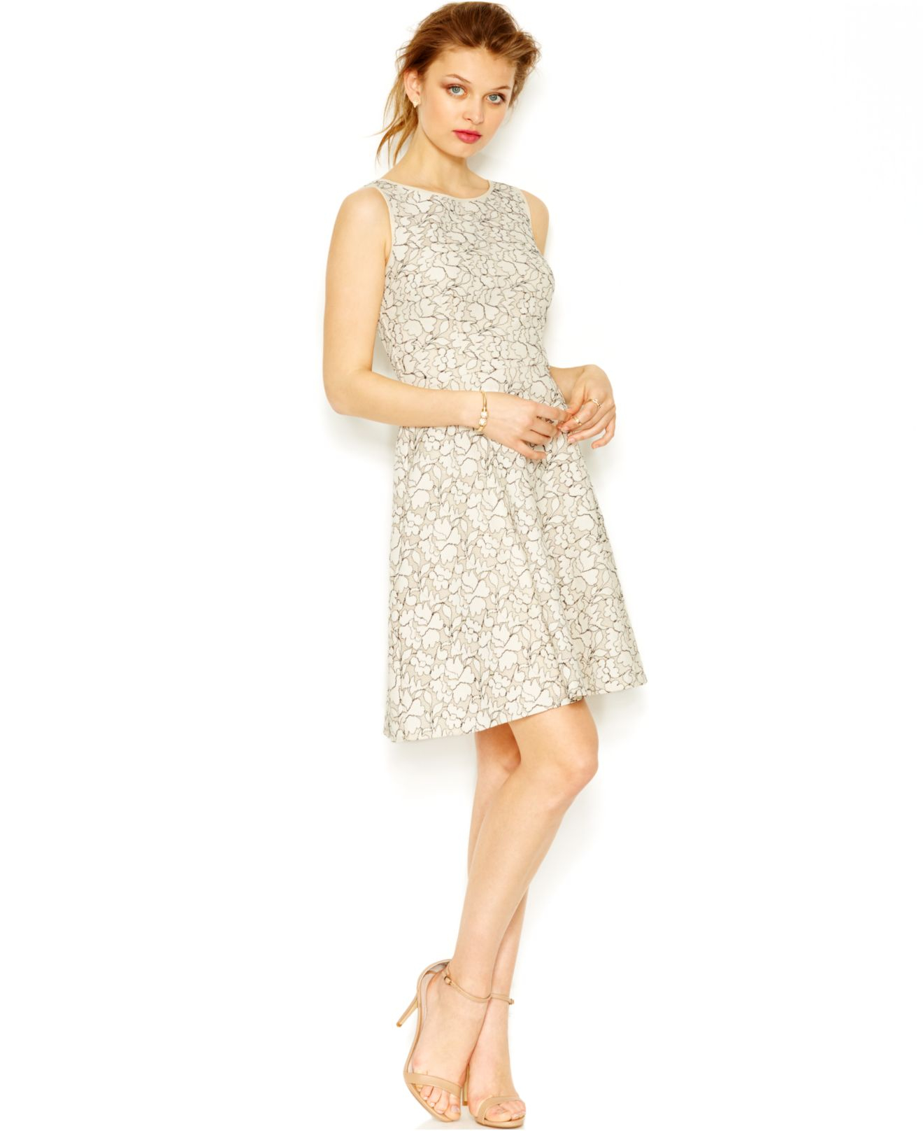 Betsey johnson Lace A-line Dress in Natural | Lyst
