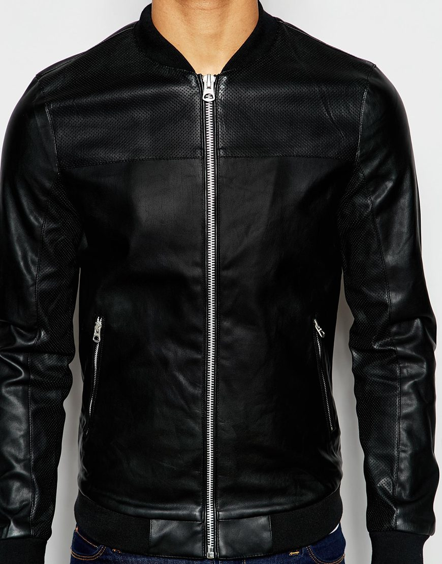 Pull&bear Bomber Jacket In Faux Leather in Black for Men ...