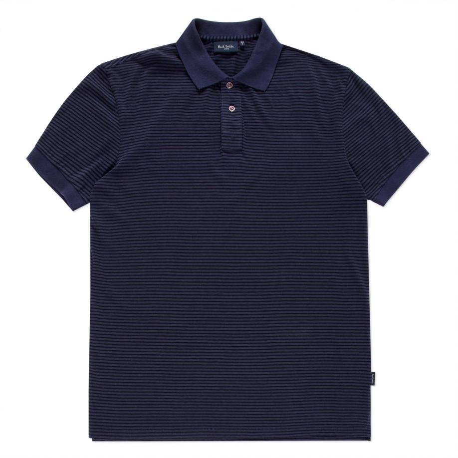Paul smith men 39 s navy horizontal stripe polo shirt in blue for Horizontal striped dress shirts men