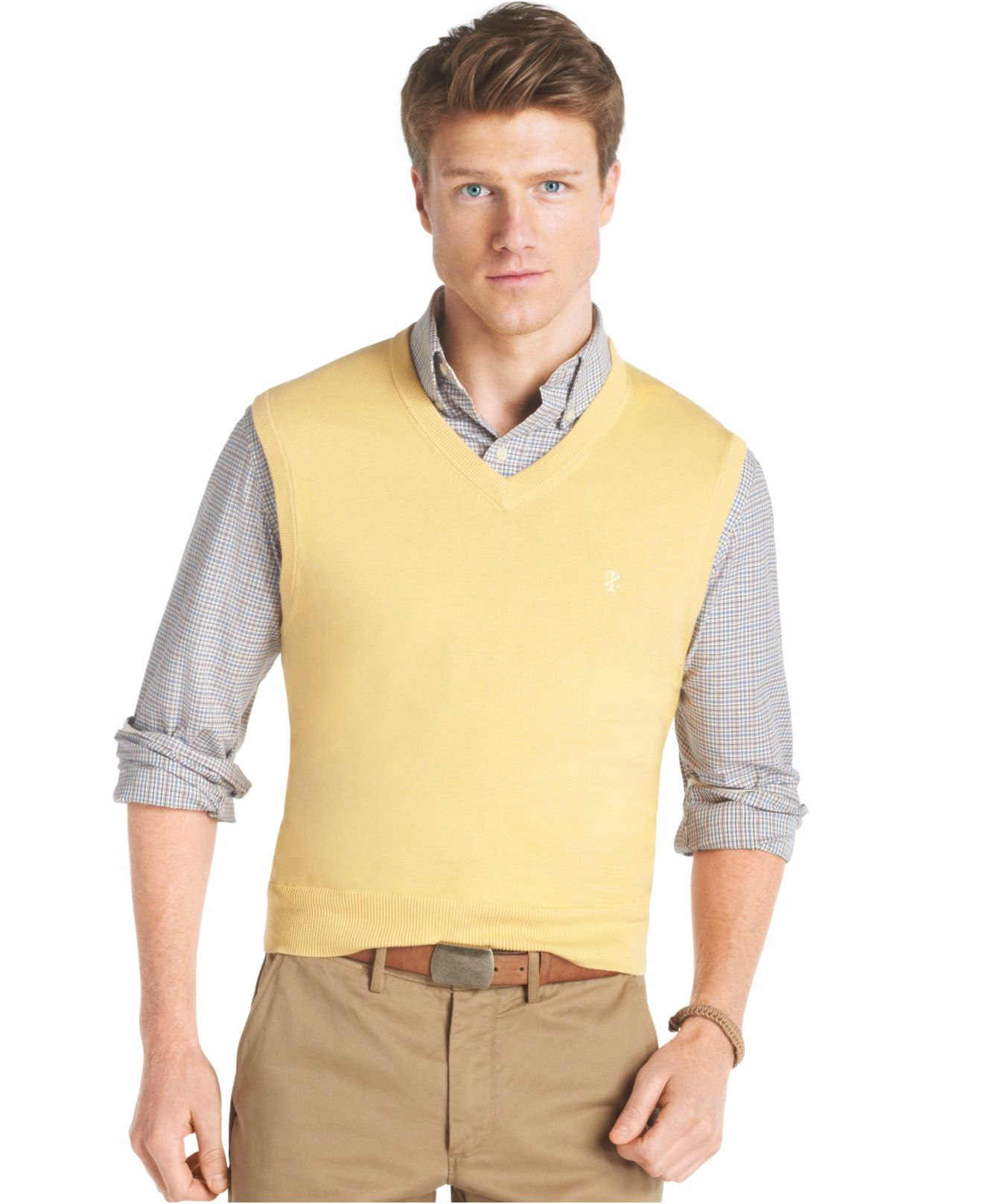 Izod Essential Lightweight V-Neck Fine Gauge Sweater Vest in ...