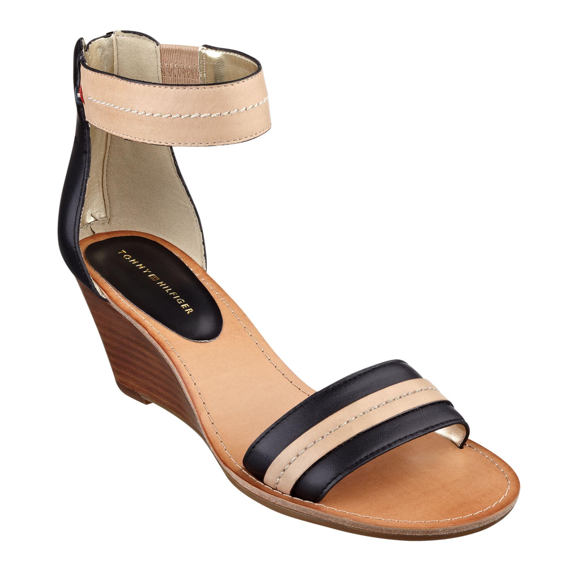 e05693c9af87 Lyst - Tommy Hilfiger Women S Yara Akle Strap Wedge Sandals in Black