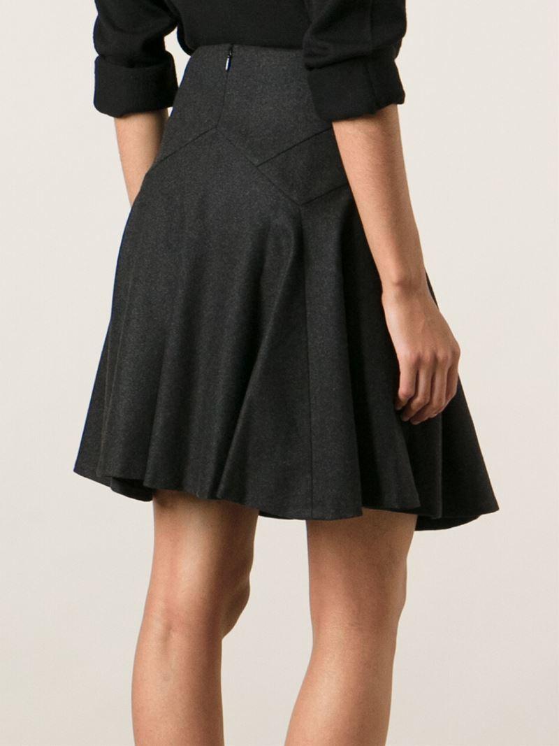 Ralph lauren black label Flared Skirt in Gray | Lyst