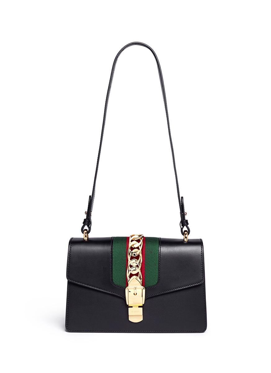 793a9ea673d8 Gucci 'sylvie' Leather Shoulder Bag in Black - Lyst