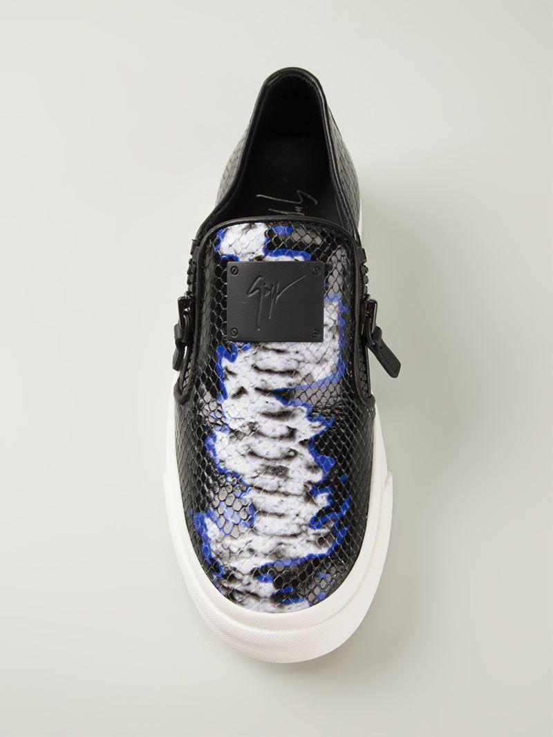 Giuseppe Zanotti Python Print Zip Detail Sneakers in Black