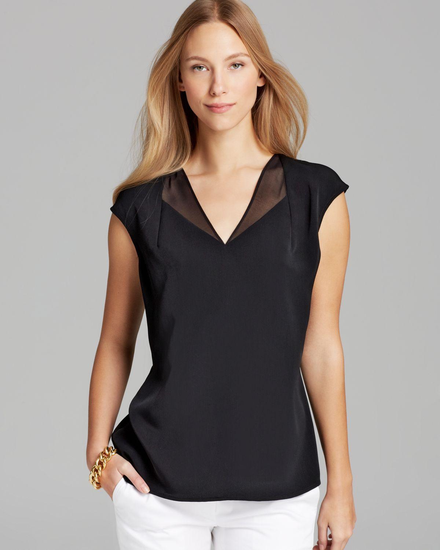 Calvin Klein Sleeveless V Neck Top With Chiffon In Black