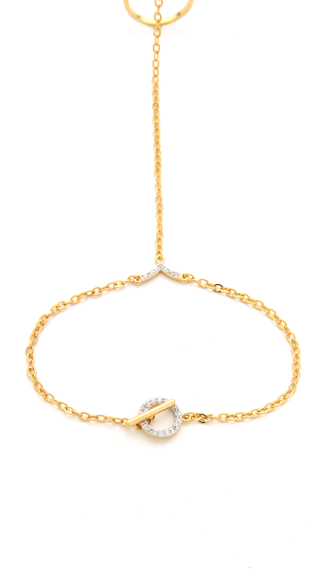 Noir Jewelry Double Ring Hand Chain in Gold (Metallic)