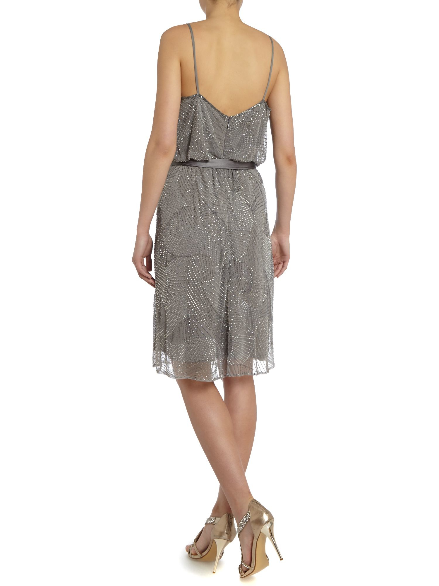 armani beaded strappy dress in silver lyst