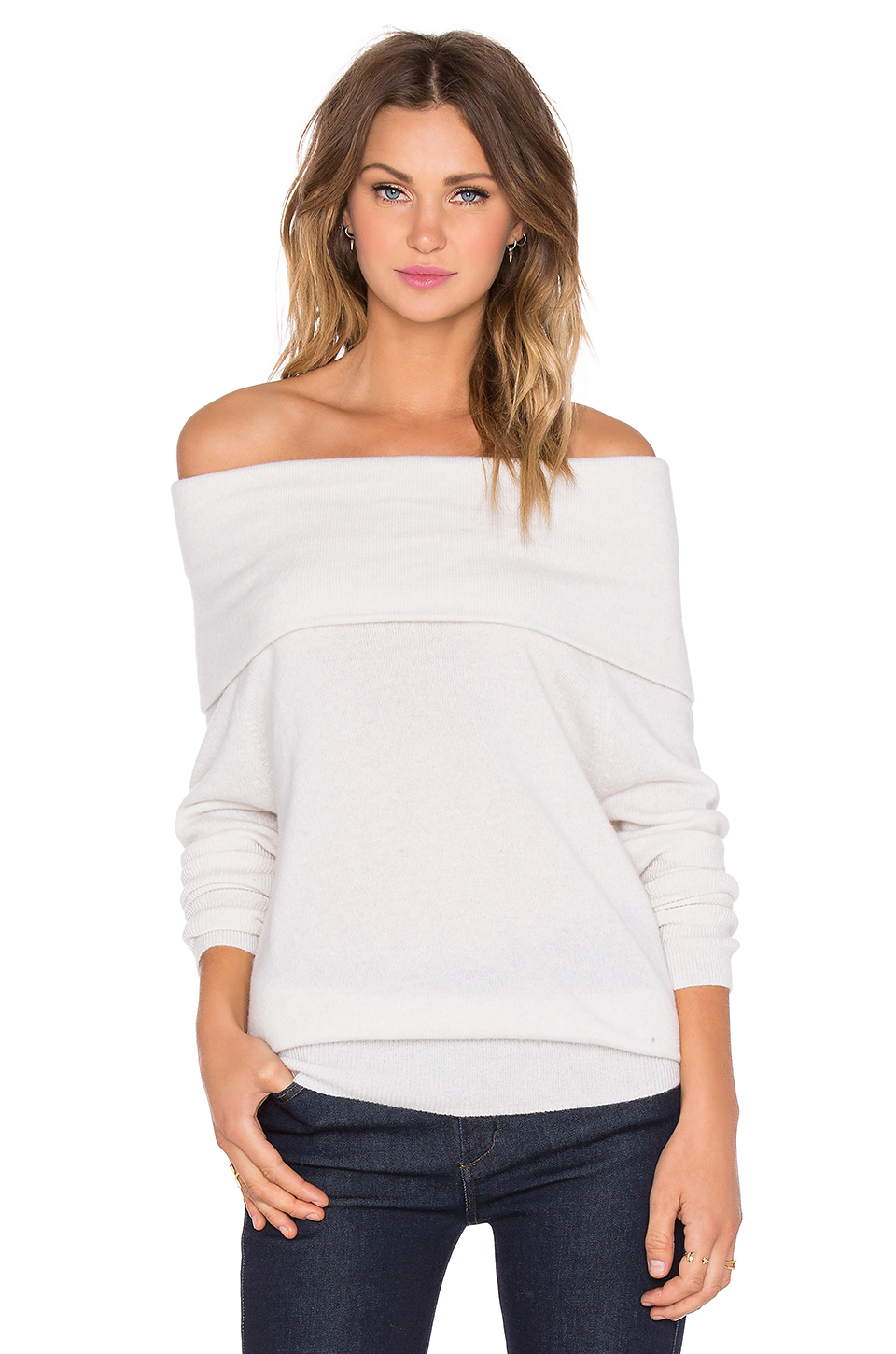 Autumn cashmere Slouchy Off Shoulder Sweater in White | Lyst